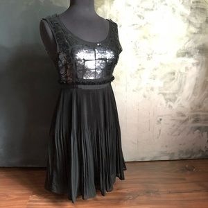 Gracie matte black sequin and ruffle pleated dress